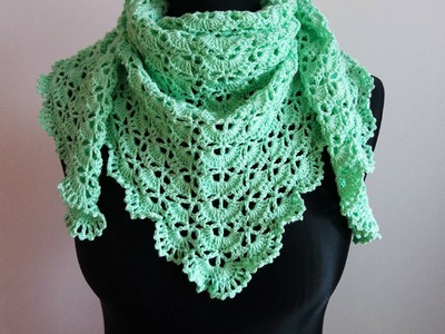 How to crochet spring triangle baktus wrap shawl free pattern tutorial by marifu6a