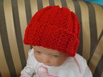 How to knit a Baby Hat or Beanie, Ribbed Stich