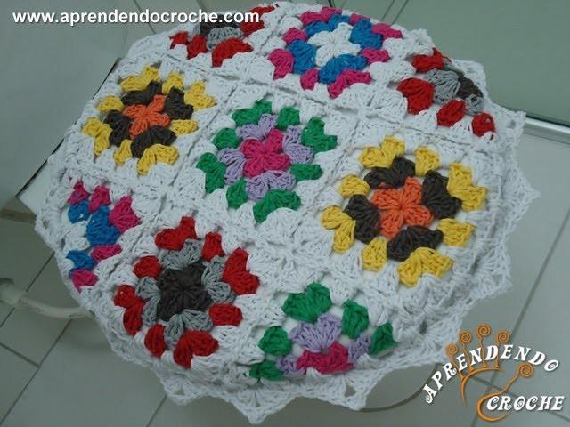 Jogo Banheiro Crochê Squares - Capa Tampa do Vaso - Aprendendo Crochê
