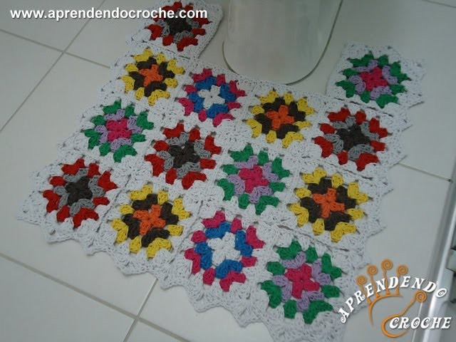 Jogo Banheiro Crochê Squares - Tapete Vaso - Aprendendo Crochê
