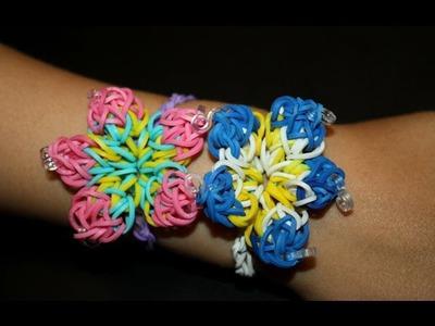 Как сделать браслет из резинок №17. Гибискус. Rainbow loom bracelet 17. Hibiscus
