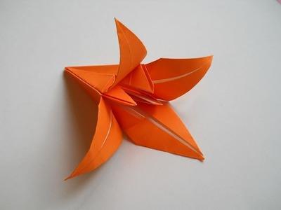 Лилия  оригами, origami lily. КАК сделать Лилию из бумаги , Лилия- lily.