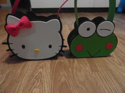 MANUALIDADES :como hacer bolso (dulcero) keroppi amigo Hello kitty de goma eva paso apaso (foamI)