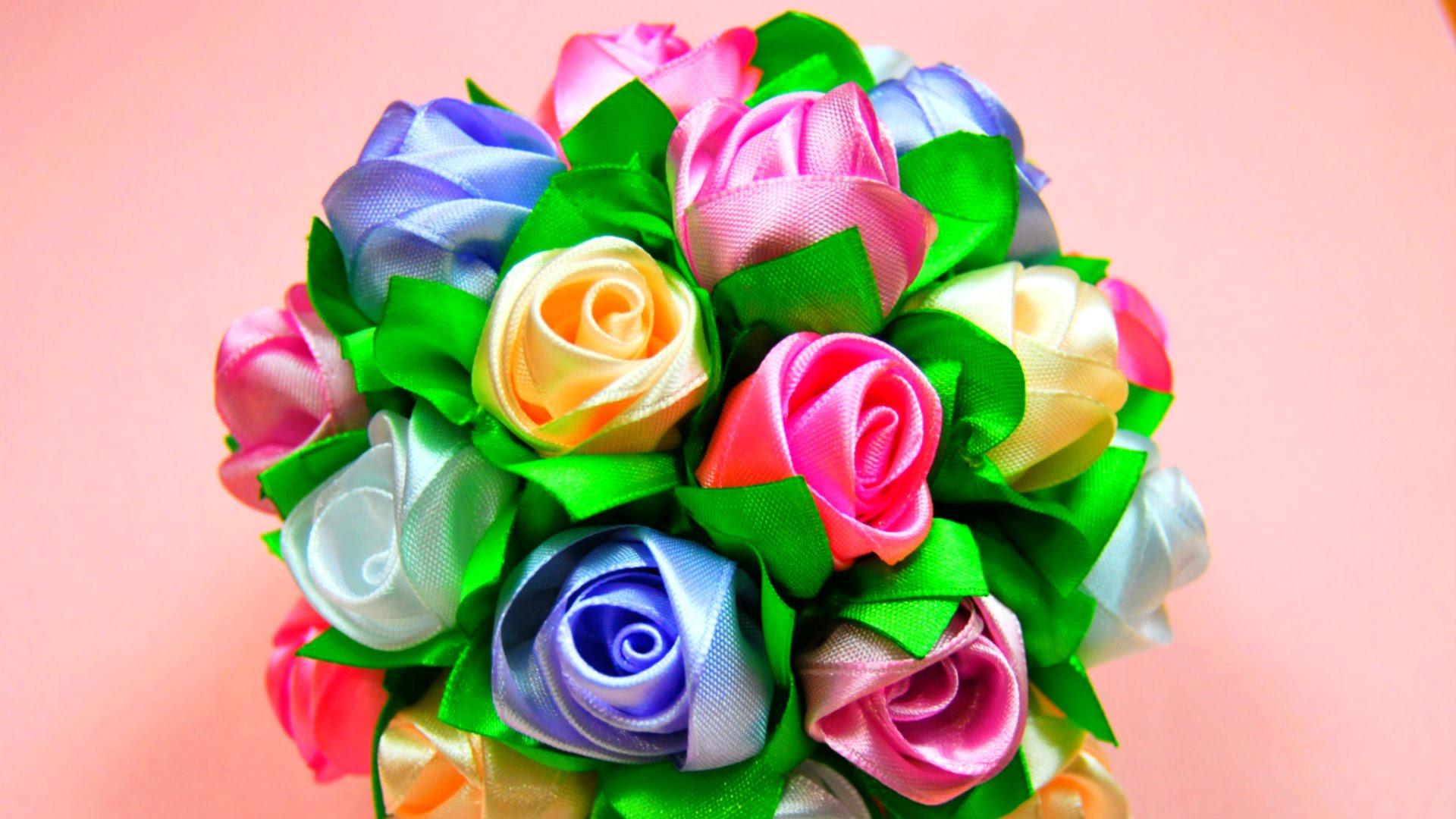 Мастер-класс: Бутоны Роз в Букет-Шар.  Ribbon Rose, Bouquet-Ball. ✿ NataliDoma