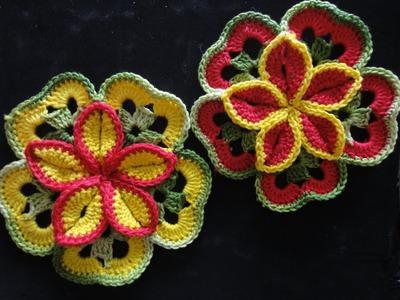 Объёмный цветок из квадратов Volumetric flower of squares Crocheting