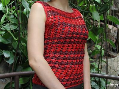 Red shell tube summer blouse crochet pattern