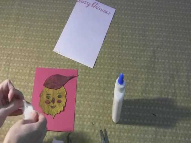 Santa Claus: Art and Craft for kids: How to make Christmas card with dry leaves