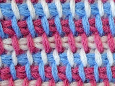 Tunisian crochet pattern   Трёхцветный тунисский узор вязания крючком  3
