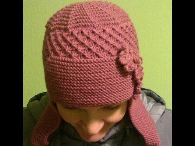 Вязаная шапка-ушанка. Мастер-класс. Knitted hat. Tutorial.