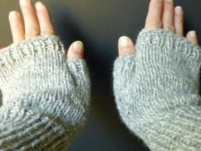 WATCH How To KNIT Basic Fingerless Gloves (Adult Sm.Med size) 4 Advanced Beginner