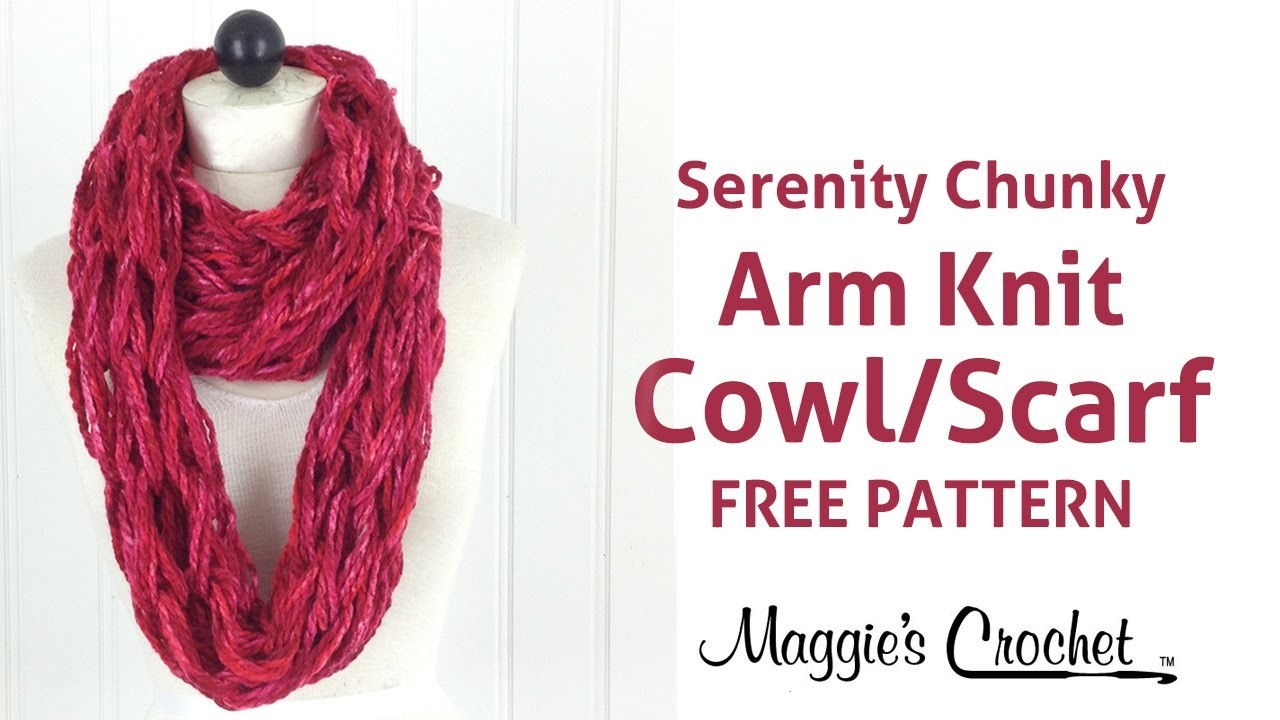 Arm Knit Cowl or Scarf with Serenity Chunky Yarn - Right Handed