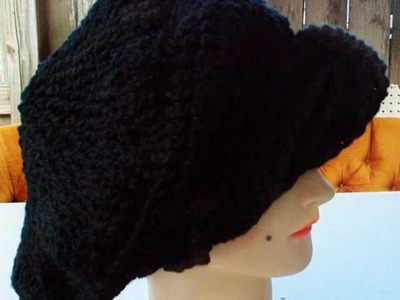CAROLYN Unique Crochet Slouchy Beanie Hat in Black