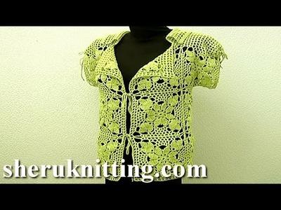 Crochet Square Motif Jacket Tutorial 11 Part 2 of 3 Motifs Joining