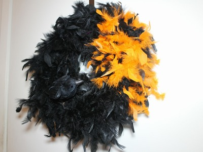 DIY Crow Feathered Boa Halloween Wreath Tutorial with CookingAndCrafting