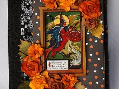 Halloween 9 x7 Witch Handmade Chipboard Scrapbook Photo Album by Terry