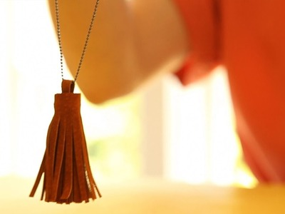 How to Make a Leather Tassel Pendant Necklace || KIN DIY