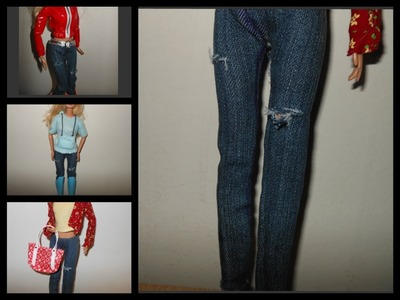 How to make doll jeans, pants, doll outfits with jeans