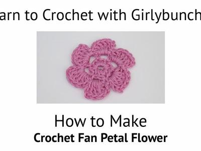 Learn to Crochet with Girlybunches - Crochet Fan Petal Flower - Tutorial