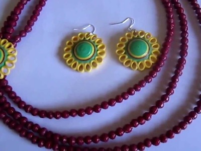 Paper Beads and Quilling Brooch Necklace & Studs (FAH01225) - Not Tutorial