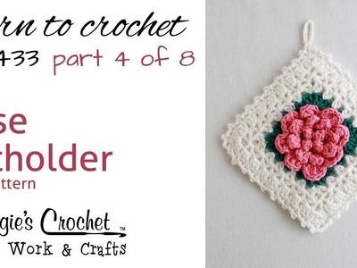 Rose Potholder PART 4 OF 8 Right Hand FREE CROCHET PATTERN FP433