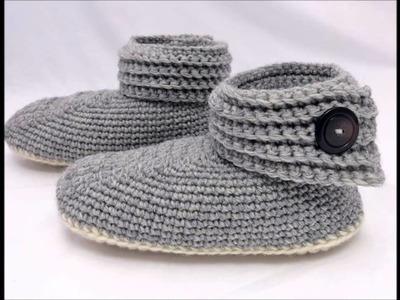 Women's Buttoned Up Slipper Crochet Pattern Presentation