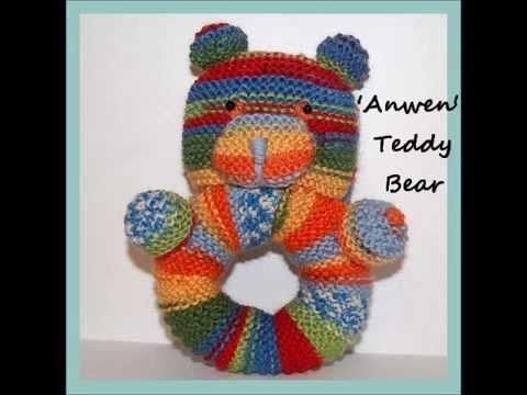 Anwen Teddy Bear Rattle Baby Ring Pram Cot Moses Basket Toy Knitting Pattern