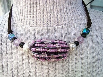 BEADED Bead,  RAG BEAD covered with beads, recycle, repurpose, jewelry making