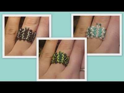 Beaded butterfly ring and bracelet Beading Tutorial by HoneyBeads1 (Photo tutorial)