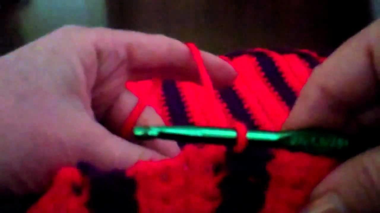 Crochet a Finish to the Border of the Single Crochet Striped Purse