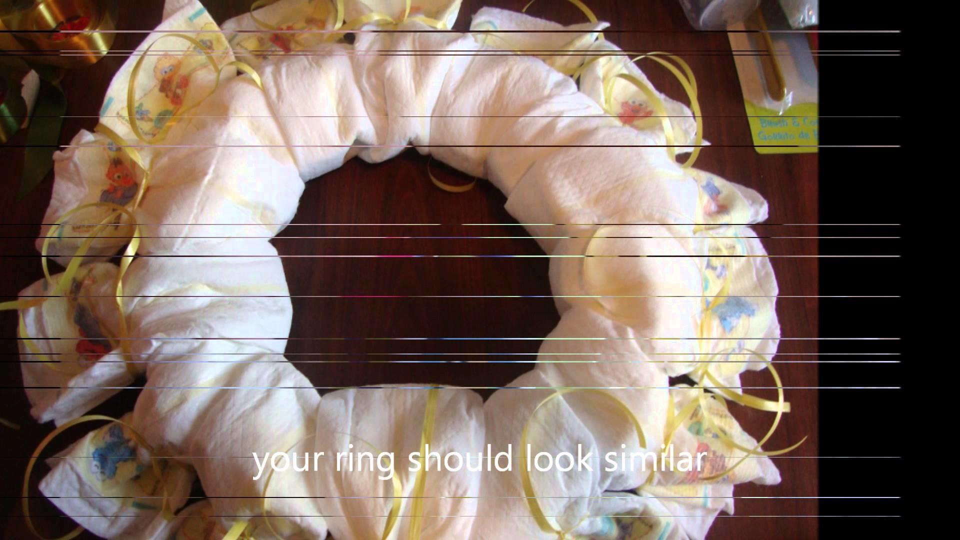 DIY-BABY GIFT-DIAPER WREATH