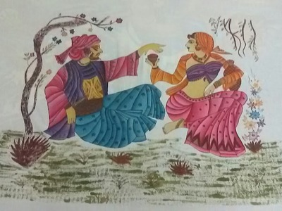 Diy Fabric painting on bedsheet of omar khayyam