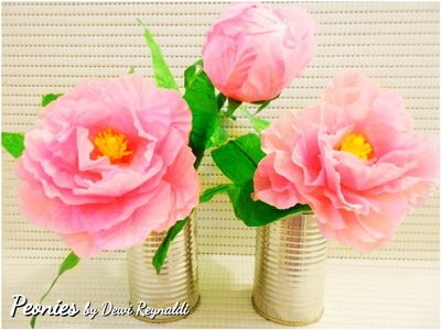 DIY : How to Make Peony Paper Flower for Room Decoration