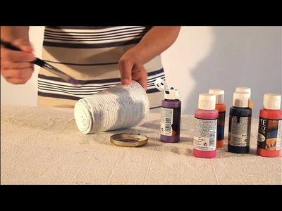 DIY Tutorial String Cup - Manualidades:  Tutorial  Vaso de cuerda