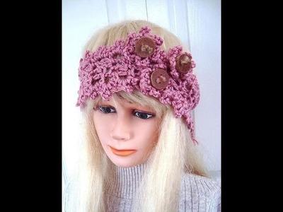 How to crochet a Pretty Pink  headband, feminine headband, girly headband