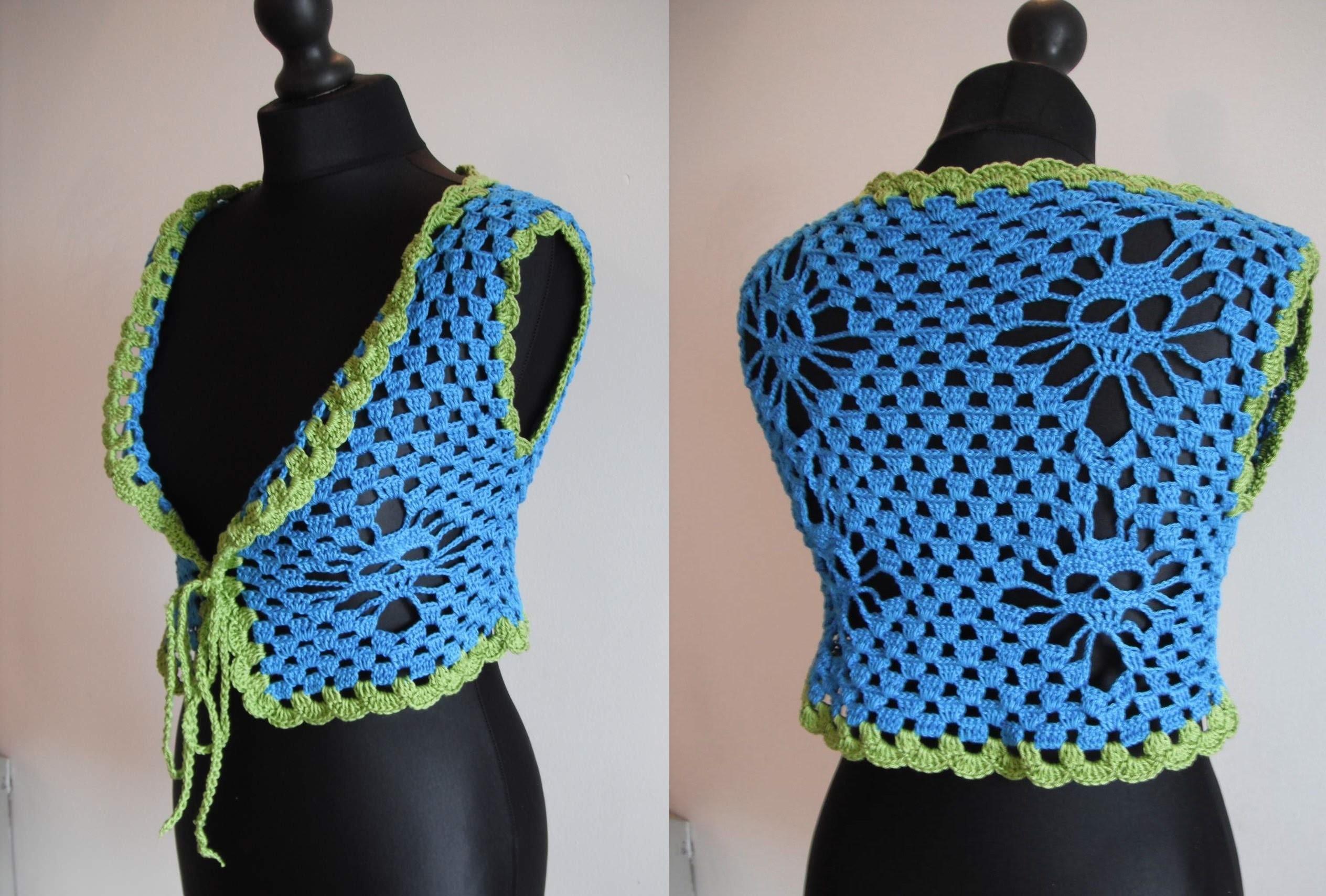 How to crochet bolero shrug with skulls free pattern tutorial by marifu6a