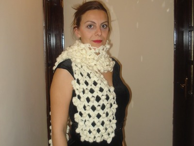 How to crochet walnut stitch on a net. Scarf version