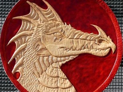 How to dye leather - leathercraft dragon painting with Fiebing's British Tan
