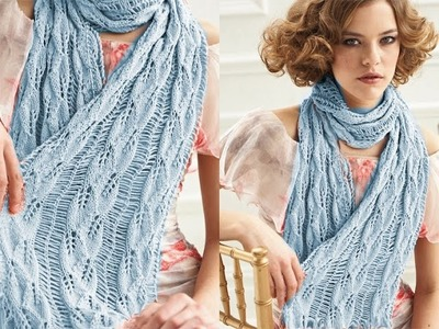 How to Knit Scarf Drop Stitches Leafy Bind Off