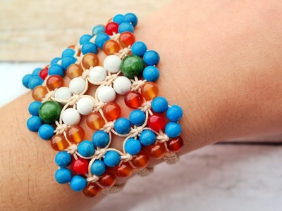 How to Make a Macrame Bracelet with Beads - Jewelry Tutorial [DIY]
