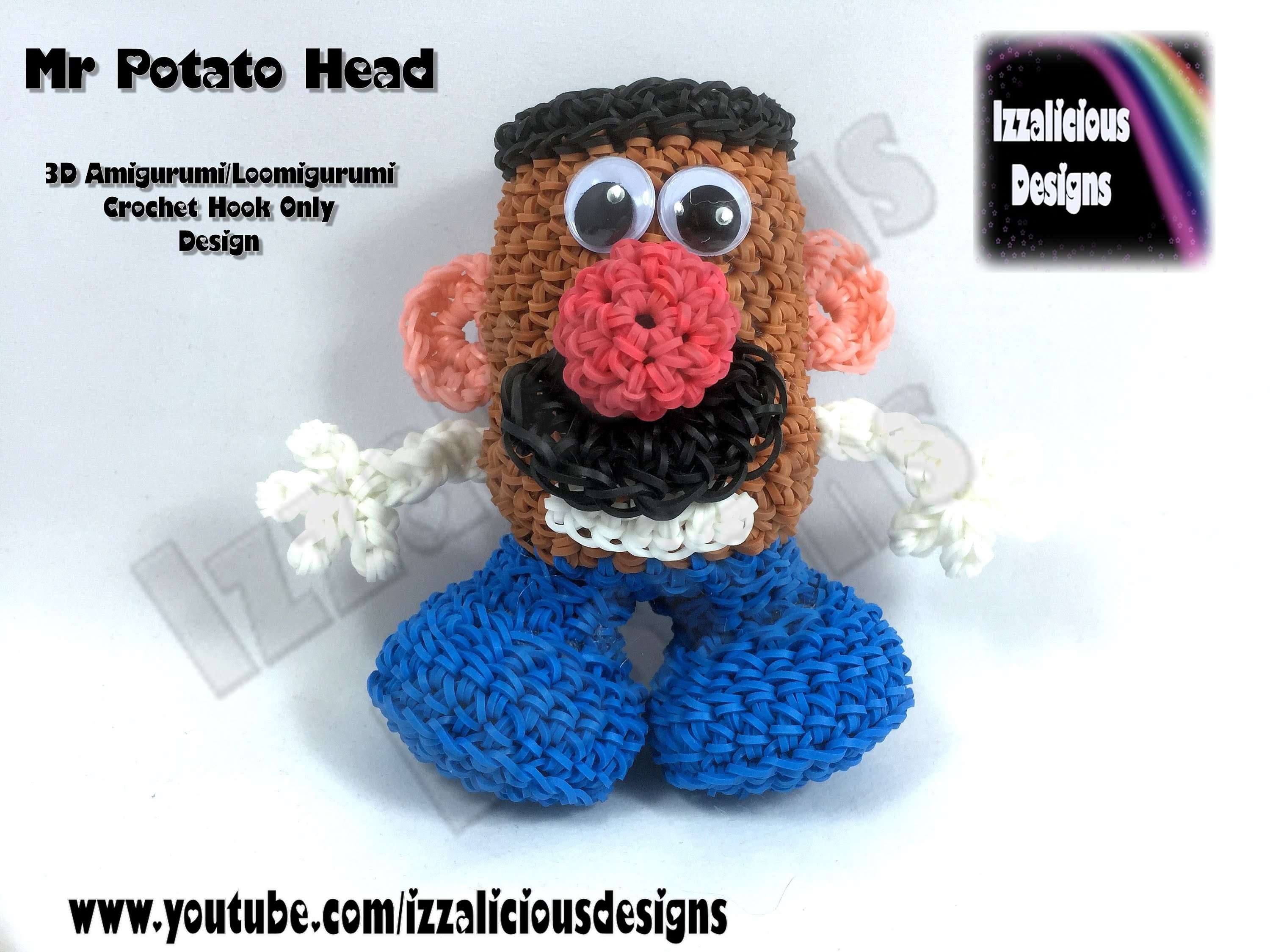 Rainbow Loom 3D Amigurumi.Loomigurumi Mr Potato Head Doll - Crochet Hook ONLY (loomless.loom-less)