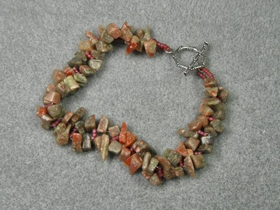 "Right Angle Weave Bracelet - ""Slink Stones"""