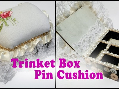 Trinket Box with Pin Cushion + Glittered Embellishments Tutorial - Which Crafts