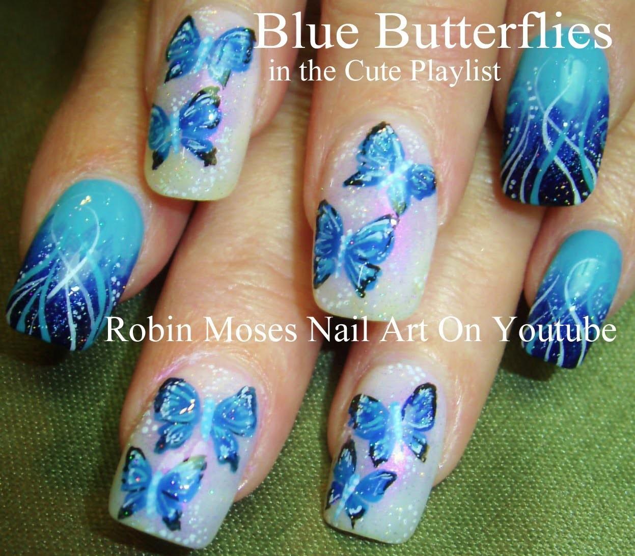 Blue Butterfly Nail Art Design Tutorial