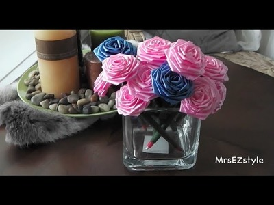 ✄Easy DIY✄ Ribbon Rose Pen, recycle your ugly hotel pens!