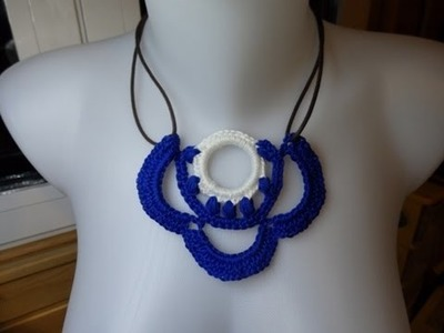 How to crochet simple necklace, Cara Merajut Kalung (subtitel indonesia)