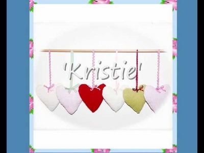 Kristie Country Cottage Shabby Chic Style Heart Hanger Mobile or Pram Toy Aran DK Knitting Pattern