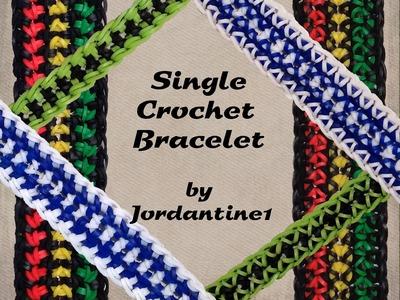 New Single Crochet Bracelet - Rainbow Loom - Hook Only - Reversible - Beginner