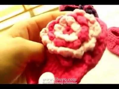 Produced handmade crochet baby sandals