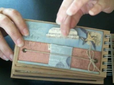 "Scrapbook Mini Travel Album.Journal Kit using the Farm House Paper Company ""Fair Skies"" Collection"