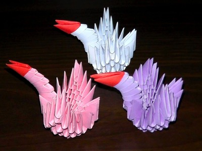 3D origami small swan assembly diagram for beginner (tutorial, instructions)